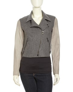 Image of Sachin & Babi Gray Asymmetrical Wool/leather Moto Jacket