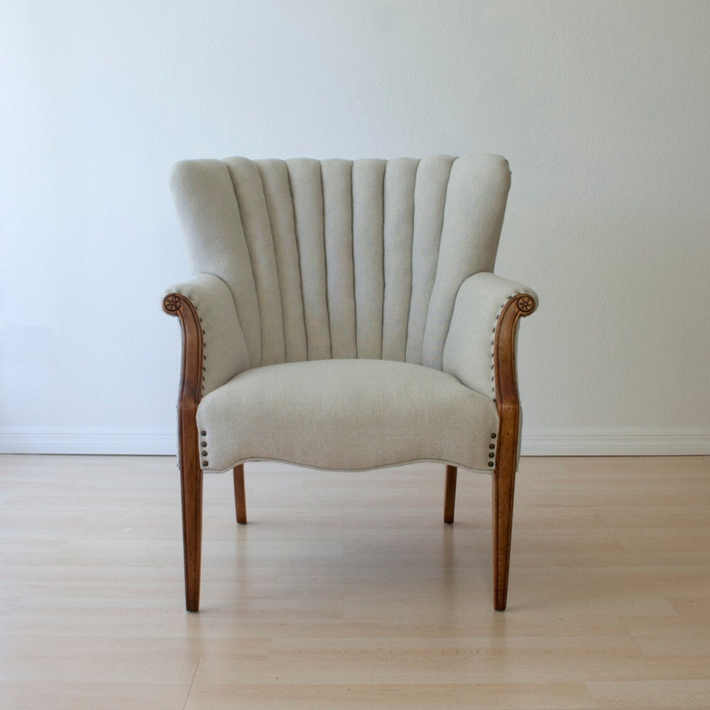 Antique Channel Back Chair In Wool Upholstery Dominique