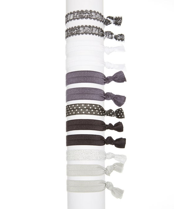 Image of Black and White Hair Tie Set of 12