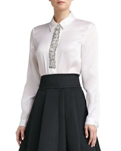Image of St. John Collection Satin Faced Organza Blouse with Crystal Beaded Trim