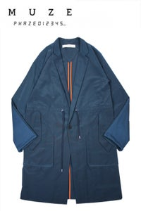 Image of GROSGRAIN CHESTERFIELD EASY COAT-NAVY