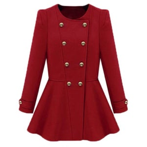 Image of Red Peplum Military Jacket