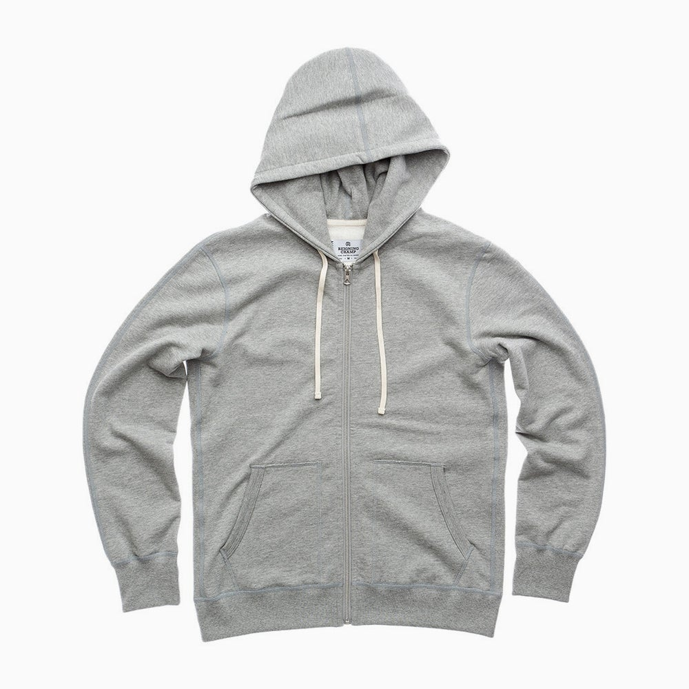 Image of Reigning Champ Midweight Full Zip Hoodie - HEATHER GREY