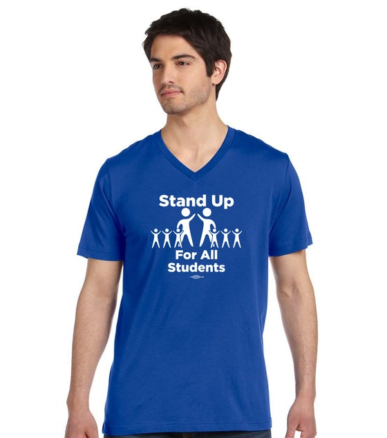 Image of Stand Up for All Students! Bella + Canvas Unisex Made in the USA Jersey Short-Sleeve V-Neck T-Shirts