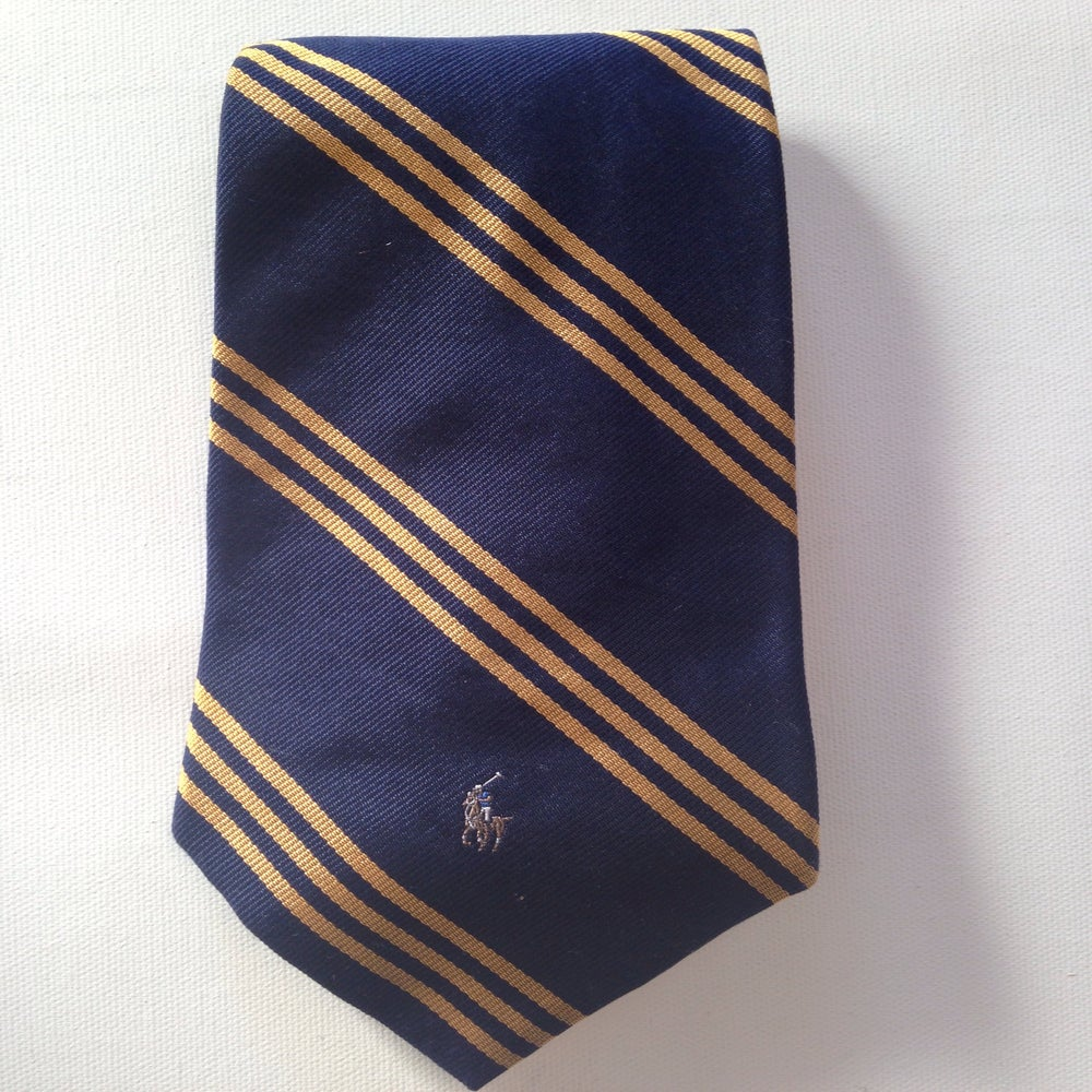 Image of Navy & Gold Striped Polo Tie
