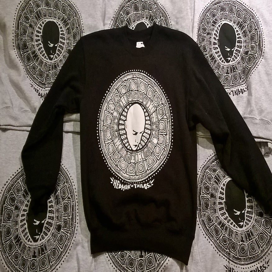 Image of Hedmuk X The Tribes #3 - Sweatshirt #002 - Black w/ White