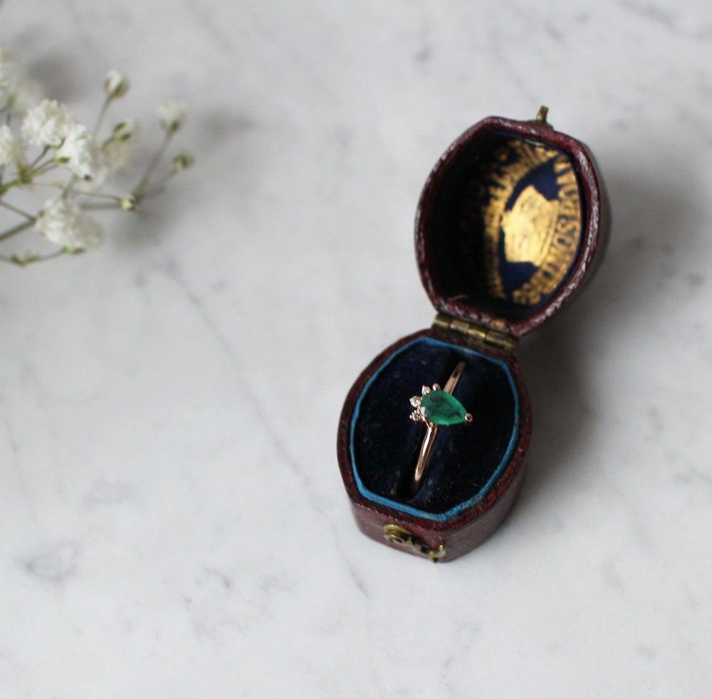 Image of Tiara Teardrop Emerald Ring