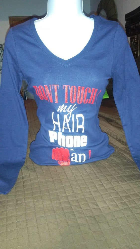 Image of DON'T TOUCH my HAIR Tee longsleeve(Navy Blue)