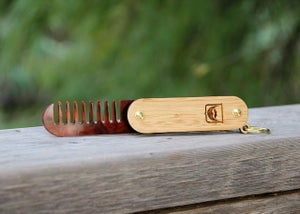 Image of Handmade Folding Wood and Tortoise Shell Acrylic Beard Comb Keychain - Dual Tool