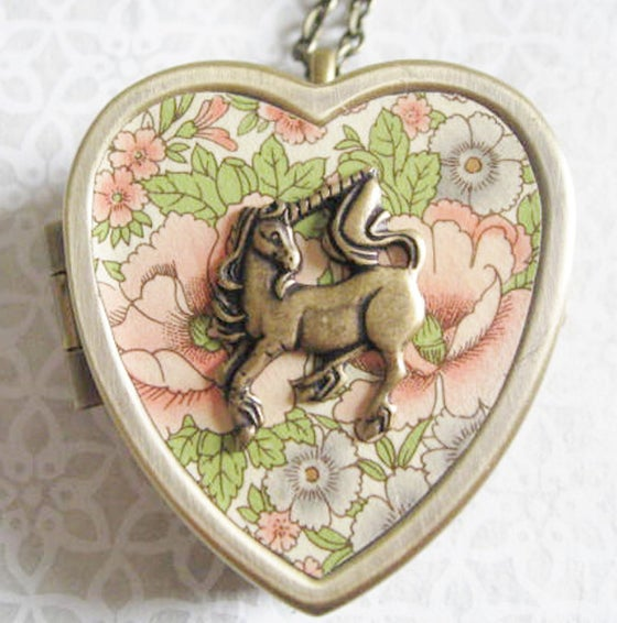 Image of Little Unicorn Music Box Locket - bronze and rose