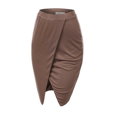 Image of Pencil Wrap Skirt - Taupe