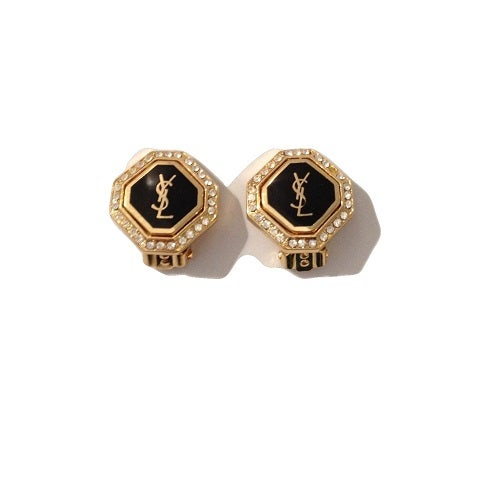 Image of SOLD OUT AUTHENTIC VINTAGE SIGNED YSL Yves Saint Laurent Small Logo Rhinestone Mint Earrings