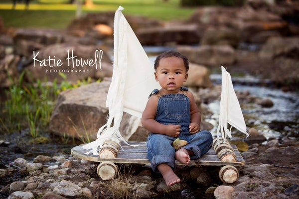 "Image of TODDLER Woodsy Wonders  ""ORIGINAL"" Huck Finn / Tom Sawyer Rustic Raft with Muslin Sails Photo Prop"