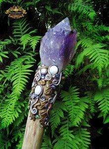 Image of AMARANTHINE DREAMS - Amethyst Quartz Crystal Magick Staff Moonstone Druid Wizard Witch Walking Stick