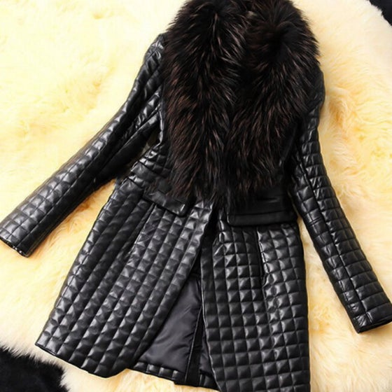 Image of IGGY FAUX LEATHER AND FUR COAT