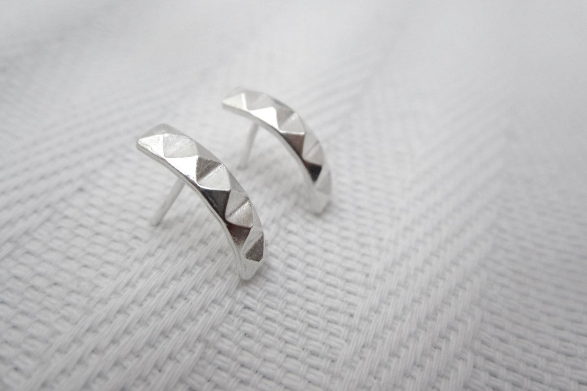 Image of Silver Pyramid Earrings