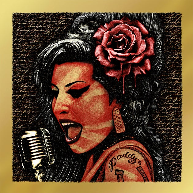 Image of AMY WINEHOUSE METALLIC RED/GOLD