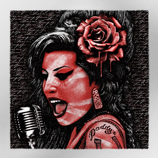 Image of AMY WINEHOUSE metallic RED/SILVER