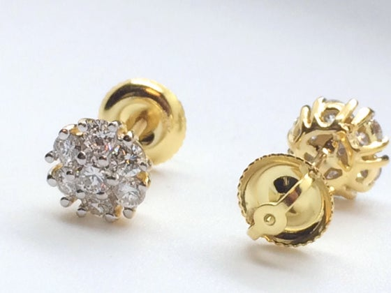 Image of Micro Diamond Cluster Earrings 14kt