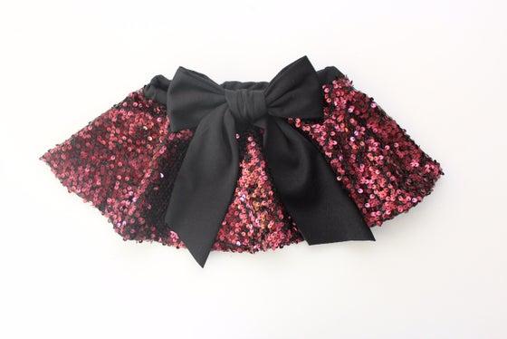 Image of Burgundy Sequin Twirl Skirt
