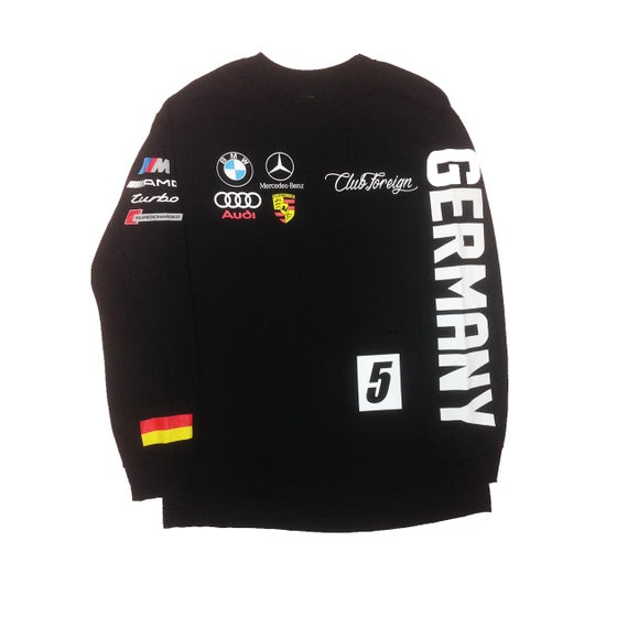 """Image of Club foreign """"German"""" Race Long Sleeve T-Shirt (Black)"""