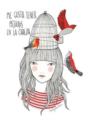 Image of Print Pájaros en la cabeza