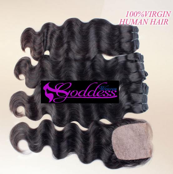 Image of 4pcs Gold Best quality virgin Malaysian human hair with silk base closure