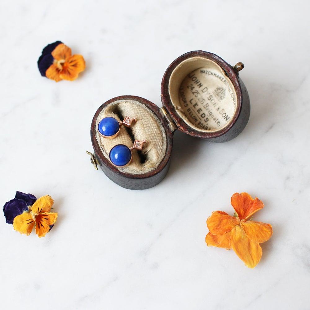 Image of Art Deco Blue Lapis Earring