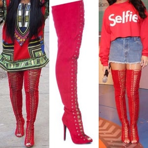 Image of Red Thigh High Boots