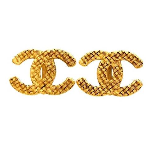 Image of SOLD OUT Chanel Huge Authentic Woven Texture Gold CC Logo Earrings
