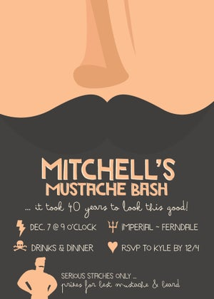 Image of Movember Mustache Party Invitation