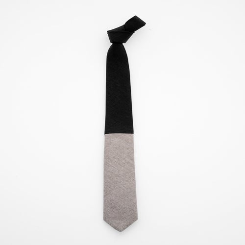 Image of lunar eclipse / linen + wool colorblock tie
