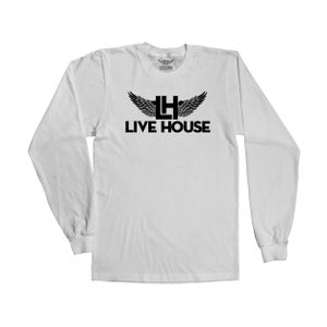 Image of Long Sleeve Classic LH Wings (Black On White)