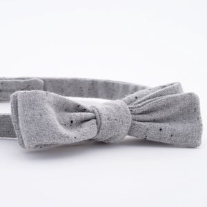 Image of light fog / gray + black fleck wool bow tie