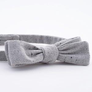 Image of light fog / gray + black fleck wool bow tie