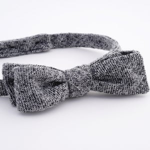 Image of the sky line / black + white wool tweed bow tie