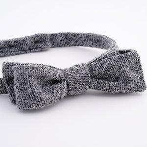 Image of the sky line / black + white wool tweed bow tie