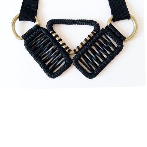 Image of small woven necklace #1047, color 1S or 10B (limestone/silver or carbon/bronze)