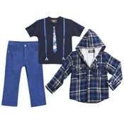 Image of 3PC Suspender Tshirt & Plaid Coat Set