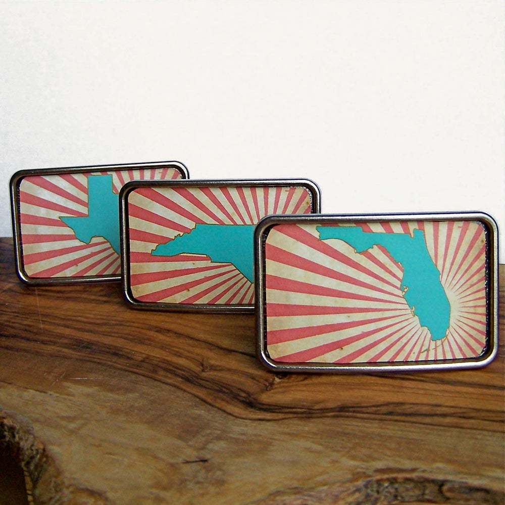 Image of Belt Buckle. Statehood. All 50 States Available.