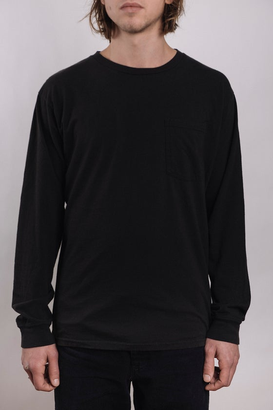 Image of Costae Longsleeve Pocket tee (Black Over Dye)