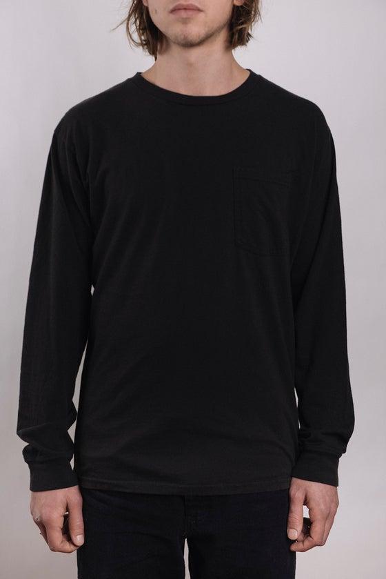 Image of Costae Longsleeve Pocket tee (Black Over Dye)
