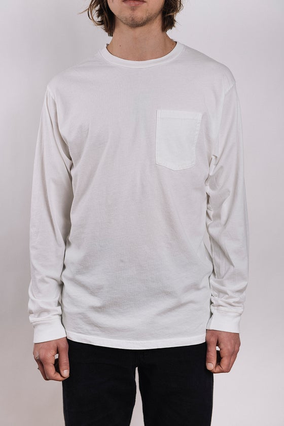 Image of Costae Longsleeve Pocket tee (Raw White)