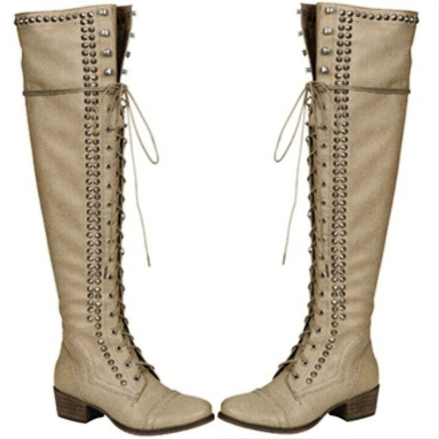 Image of PRE ORDER Studded Taupe Over the Knee Boot