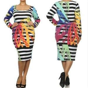 Image of Rainbow Striped Midi Dress