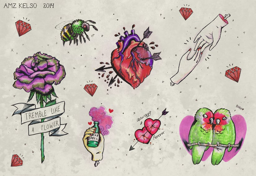 Image of 'My Love For You' Tattoo Flash Sheet