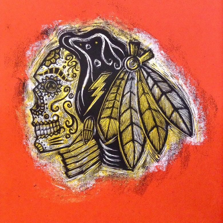 Image of Hawks sugarskull print