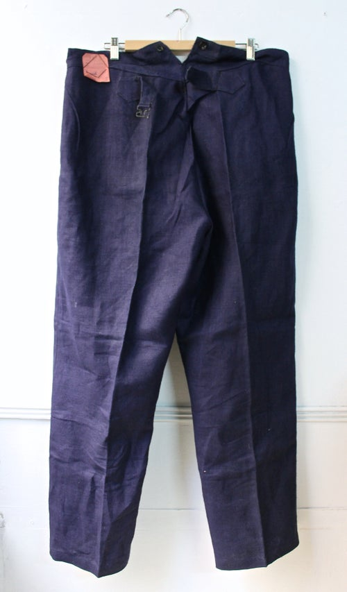 Image of 1940'S FRENCH INDIGO LINEN PANTS DEADSTOCK