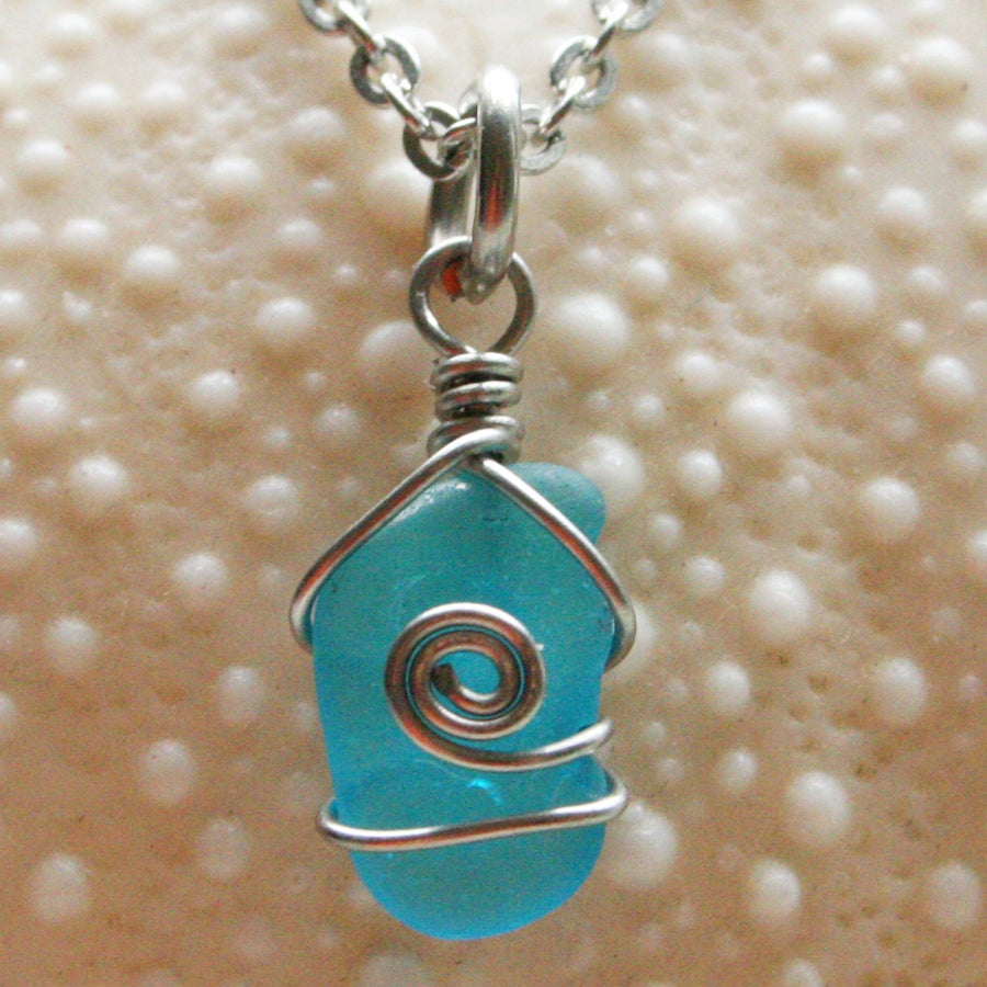 Image of Very rare teeny tiny turquoise sea glass pendant necklace