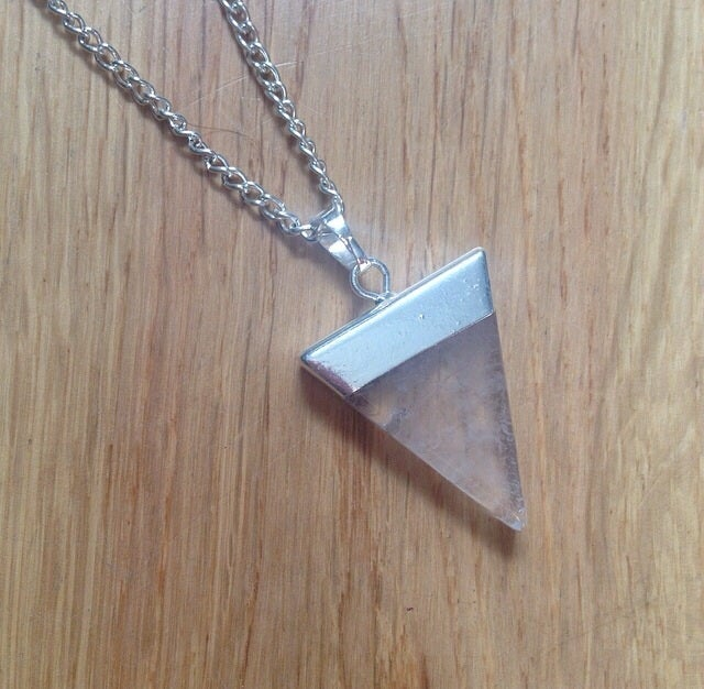 Image of Clear Quartz Healing Crystal Triangle Pendant Hand-Made Necklace